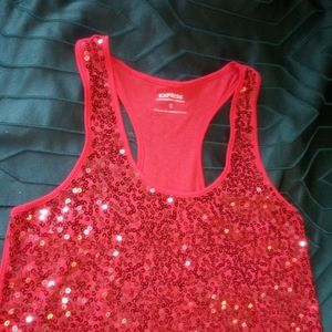 Women's Express Red Sequined Tank Top XS